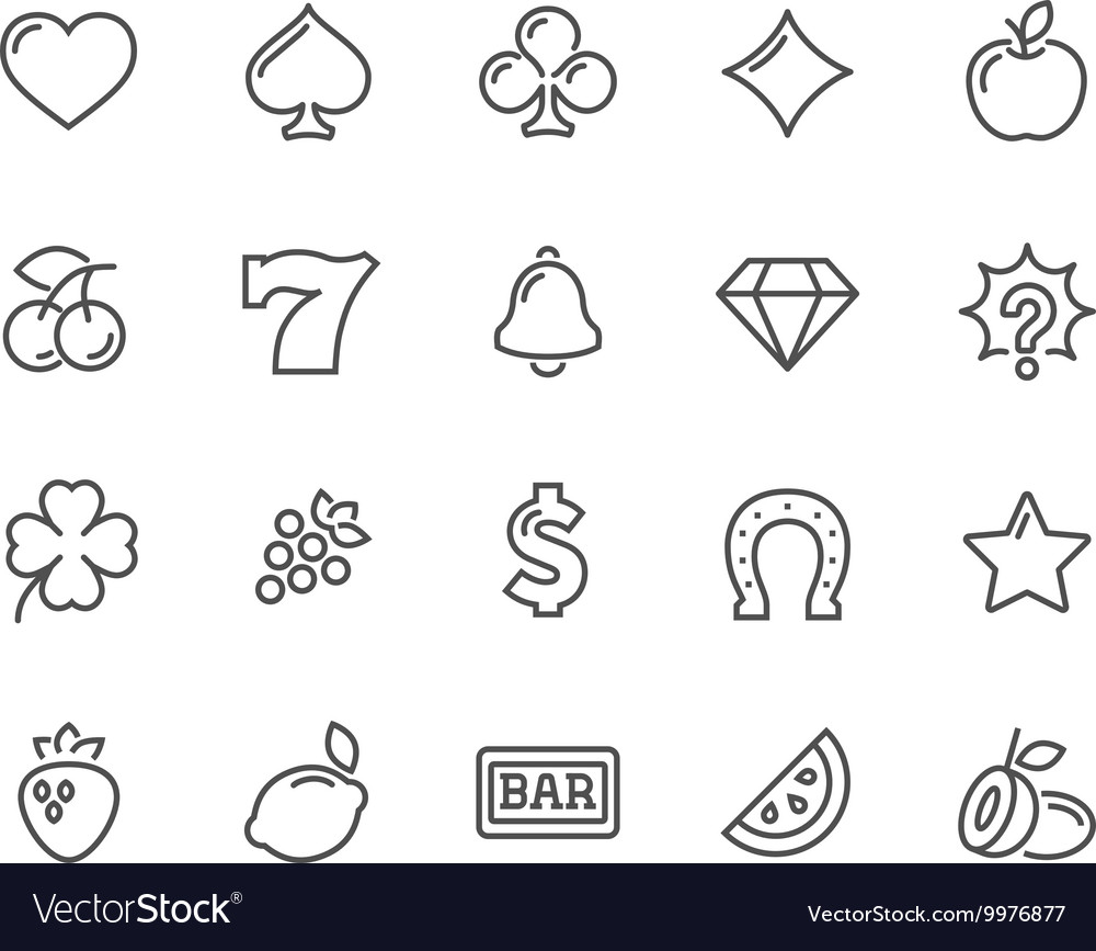 Line Slot Machine Icons vector image