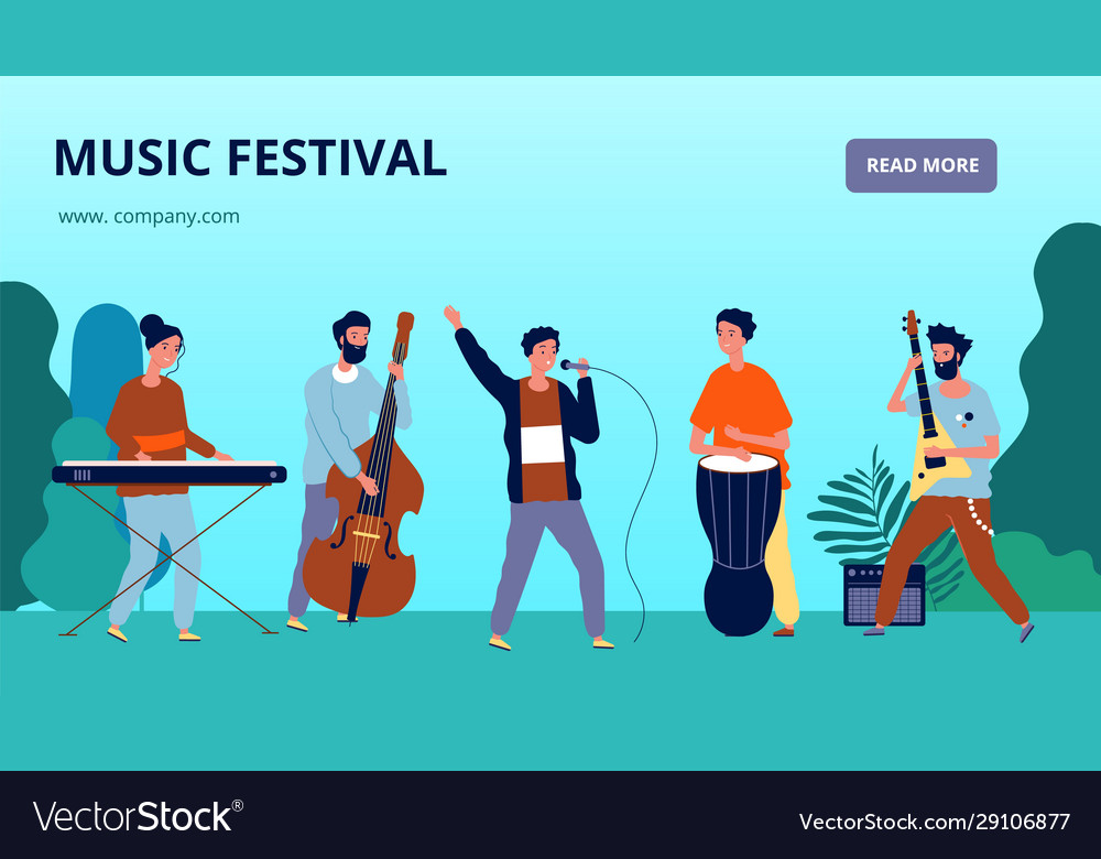 Music festival banner musicians and instruments