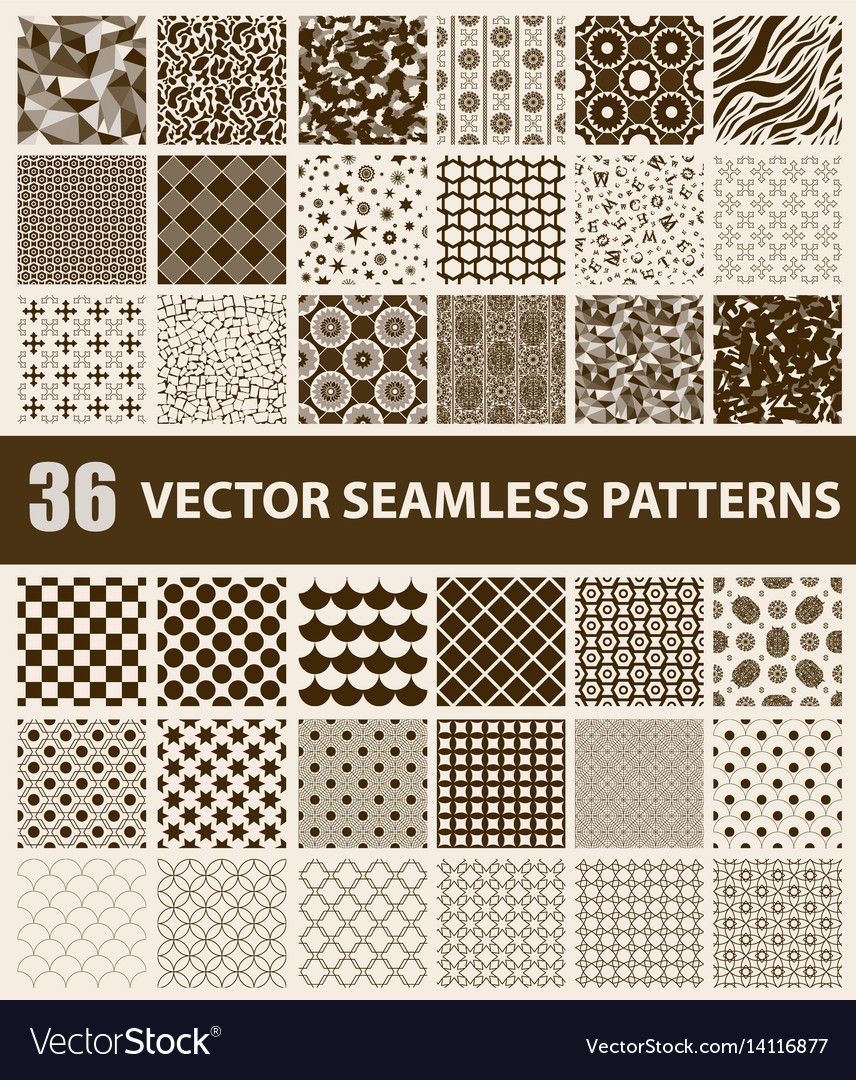 Pack of 36 retro styled brown seamless patterns