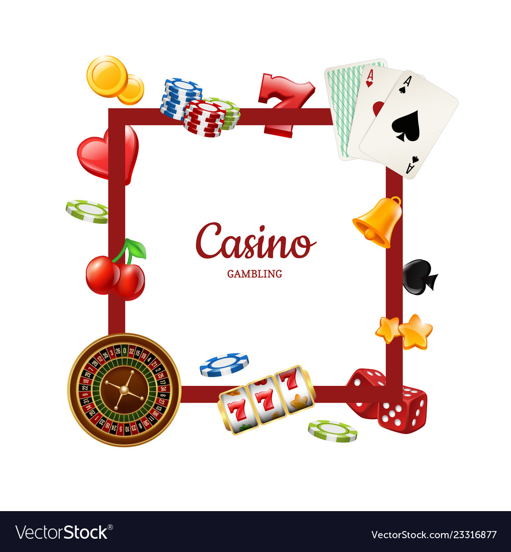 Realistic casino gamble with place for text