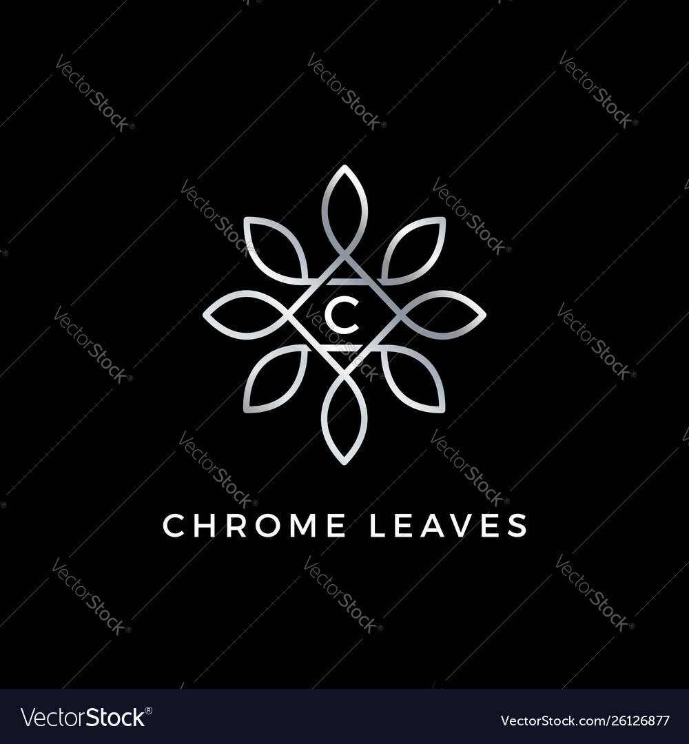 Silver floral leaves initial letter type c logo