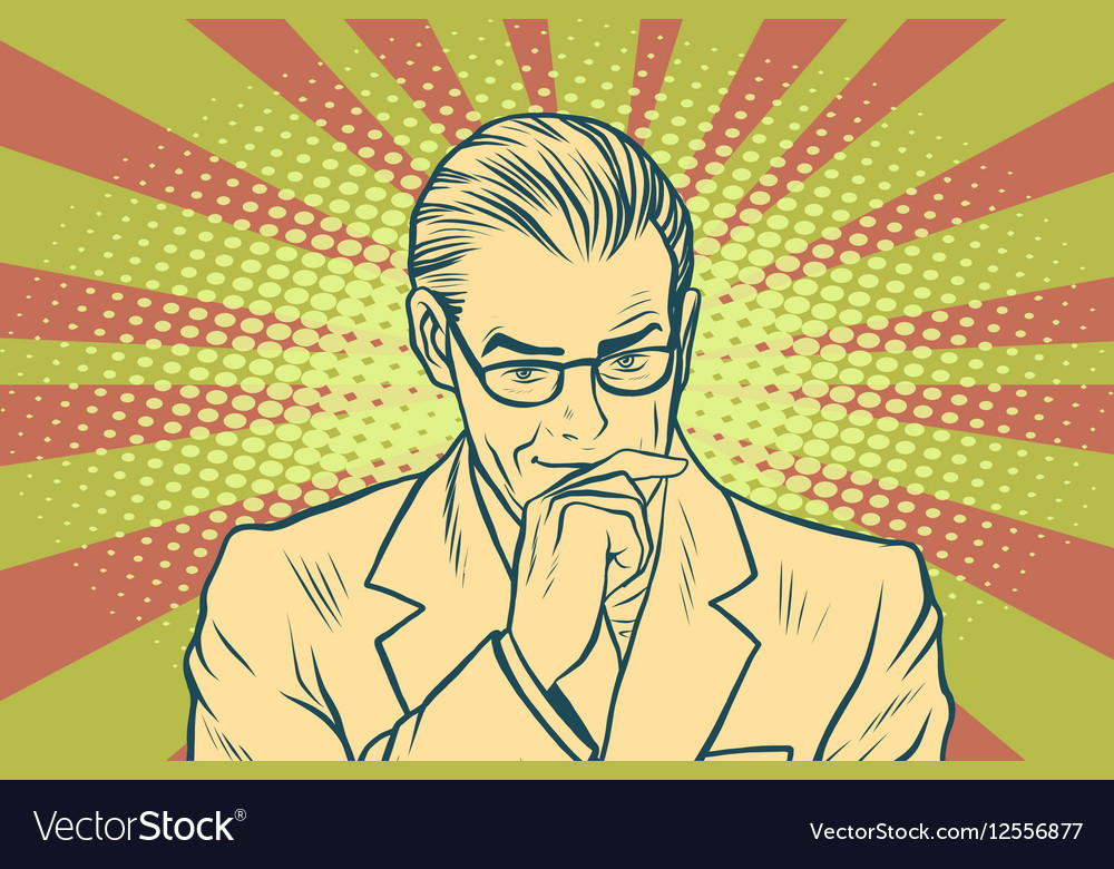 Thinking businessman pop art retro