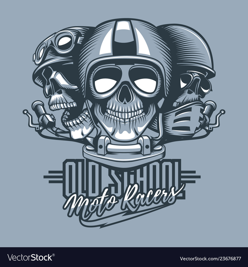 Three skulls riders in helmets and text old