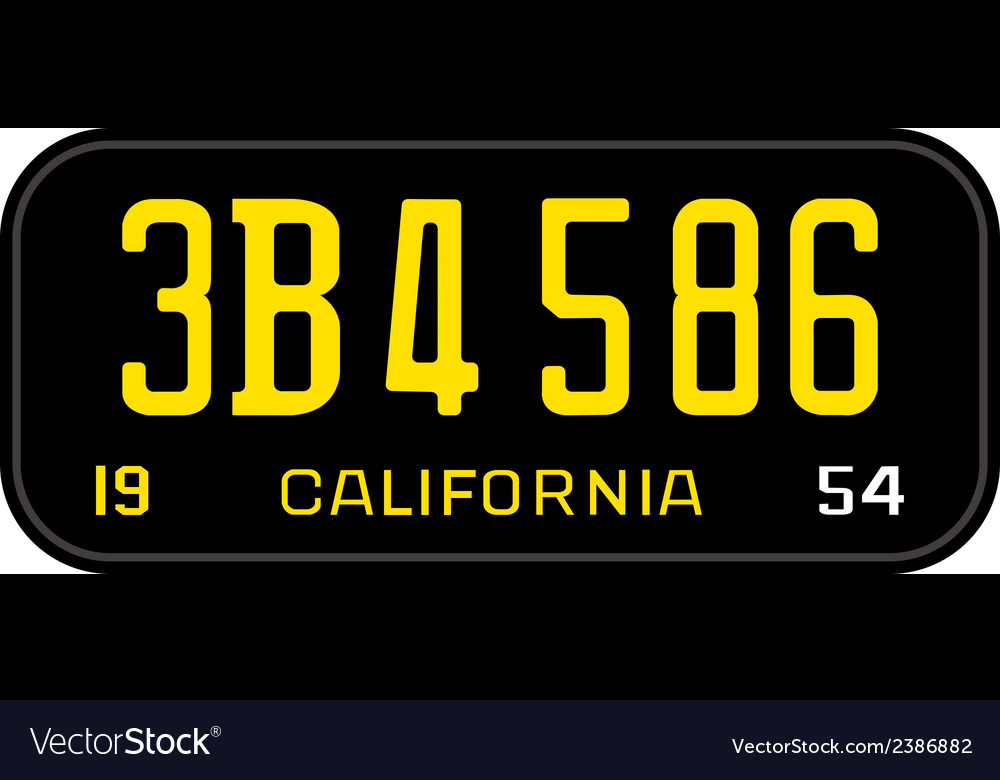 California 1954 license plate vector image
