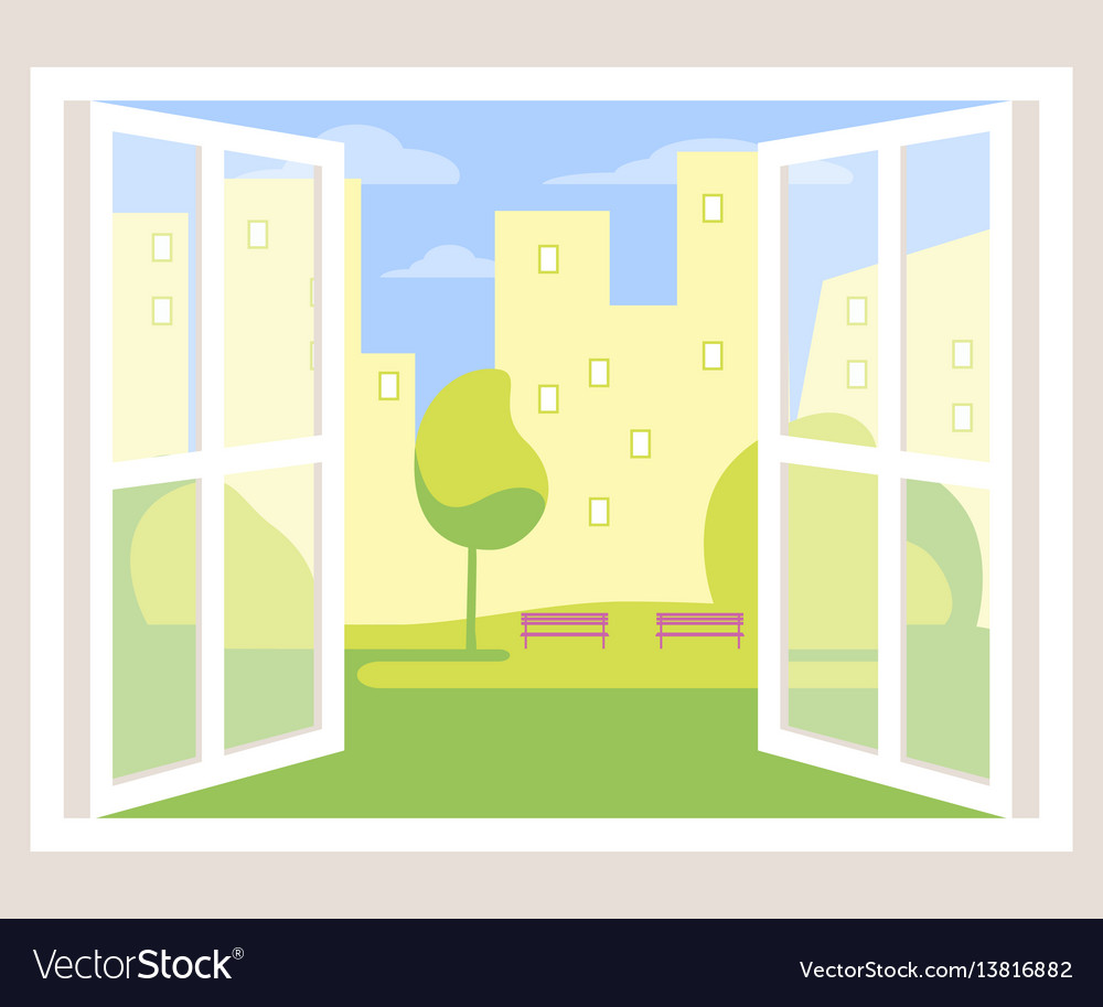 City view open window background