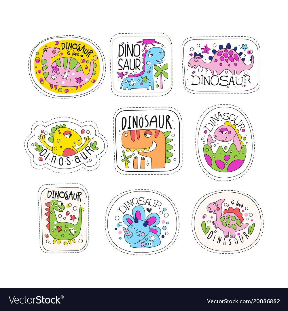 Cute dinosaur patches set trendy colorful unicorn