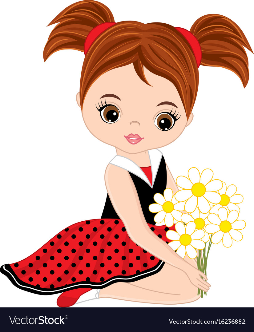 cute little girl with flowers royalty free vector image rh vectorstock com victor girls softball victor girls youth lacrosse