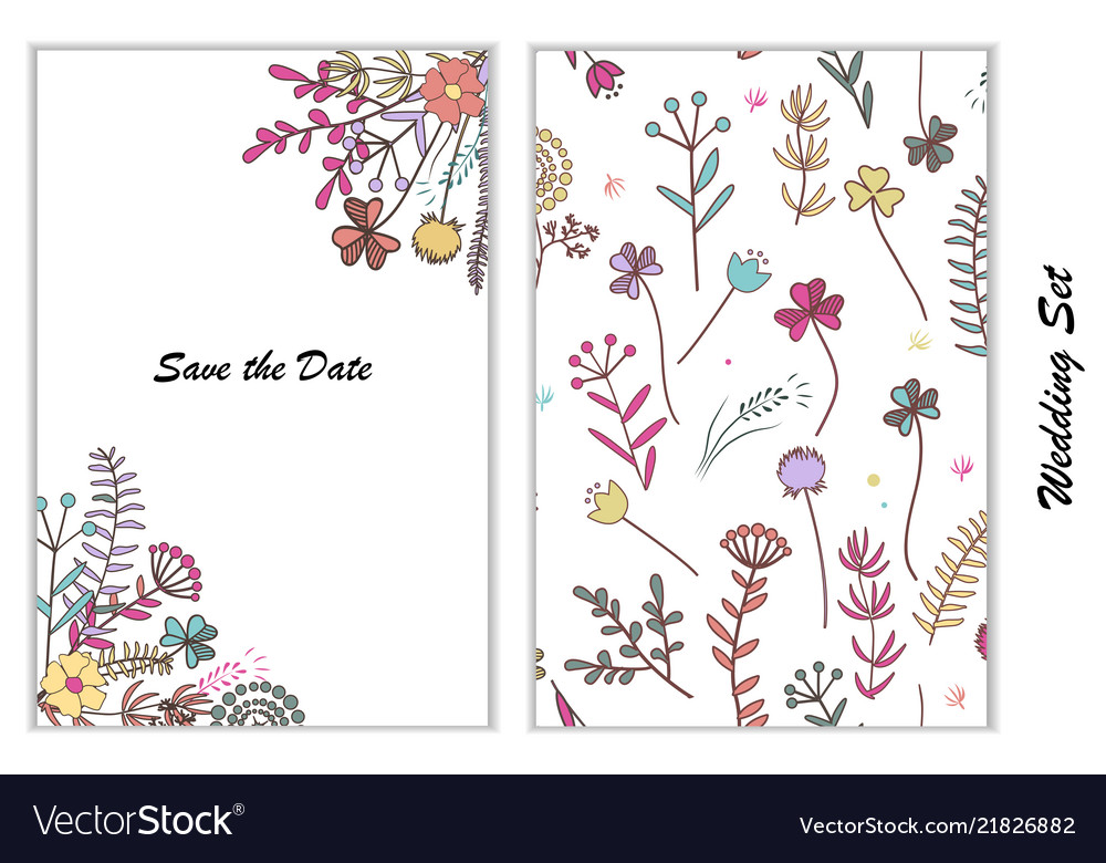 Design for wedding greeting card and seamless