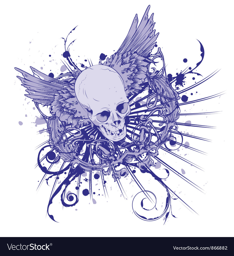 Grunge vintage emblem with skull
