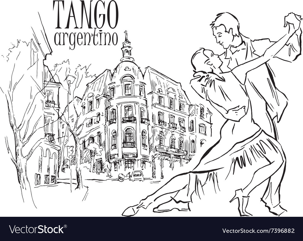 Hand made sketch of tango dancers