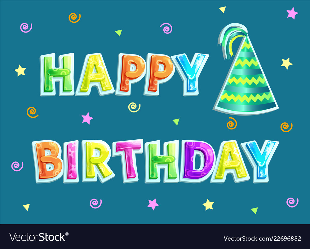 happy birthday poster and text royalty free vector image
