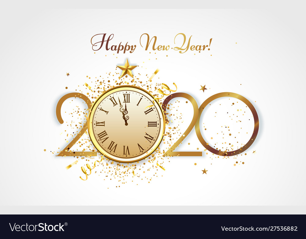 Happy new year greeting card golden 2020