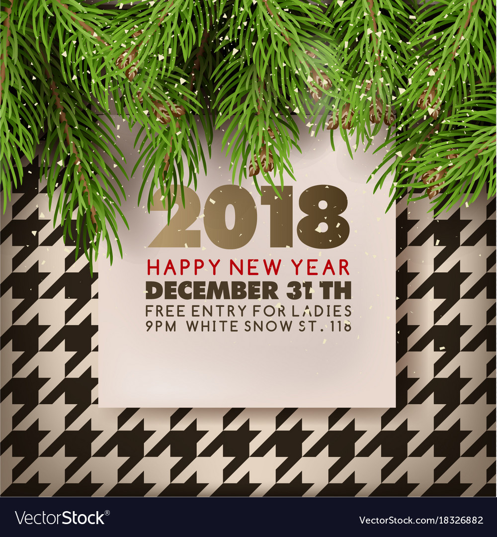 happy new year party invitation poster of vector image