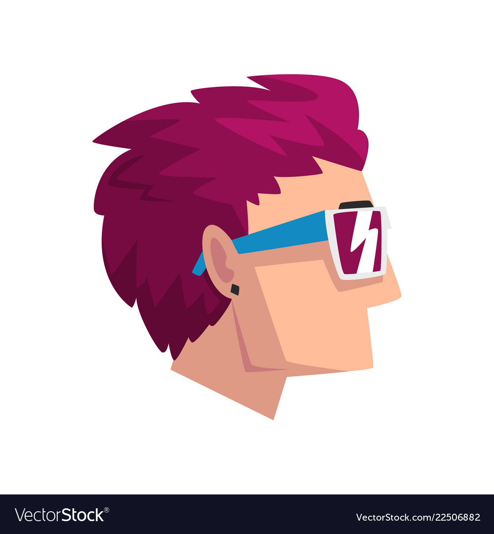 Head of man with short purple dyed hair profile