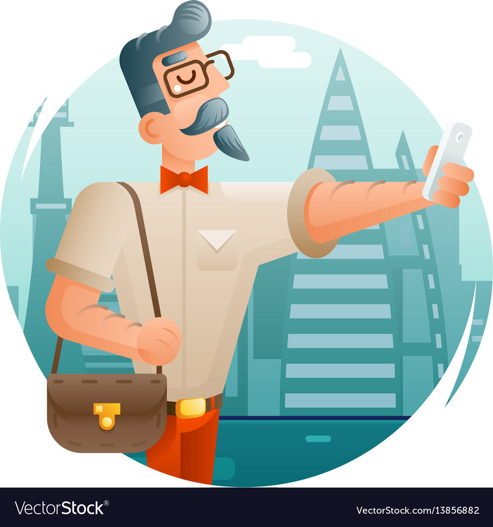 Hipster geek mobile phone selfie businessman vector image