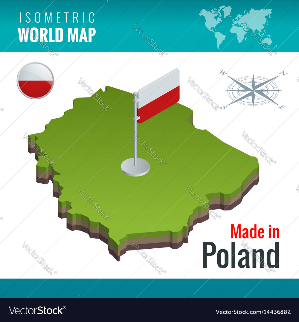 Isometric map and flag of the poland officially