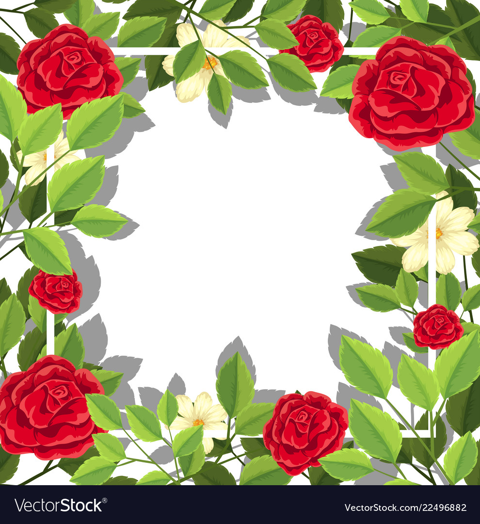 Red flower leaf template vector image