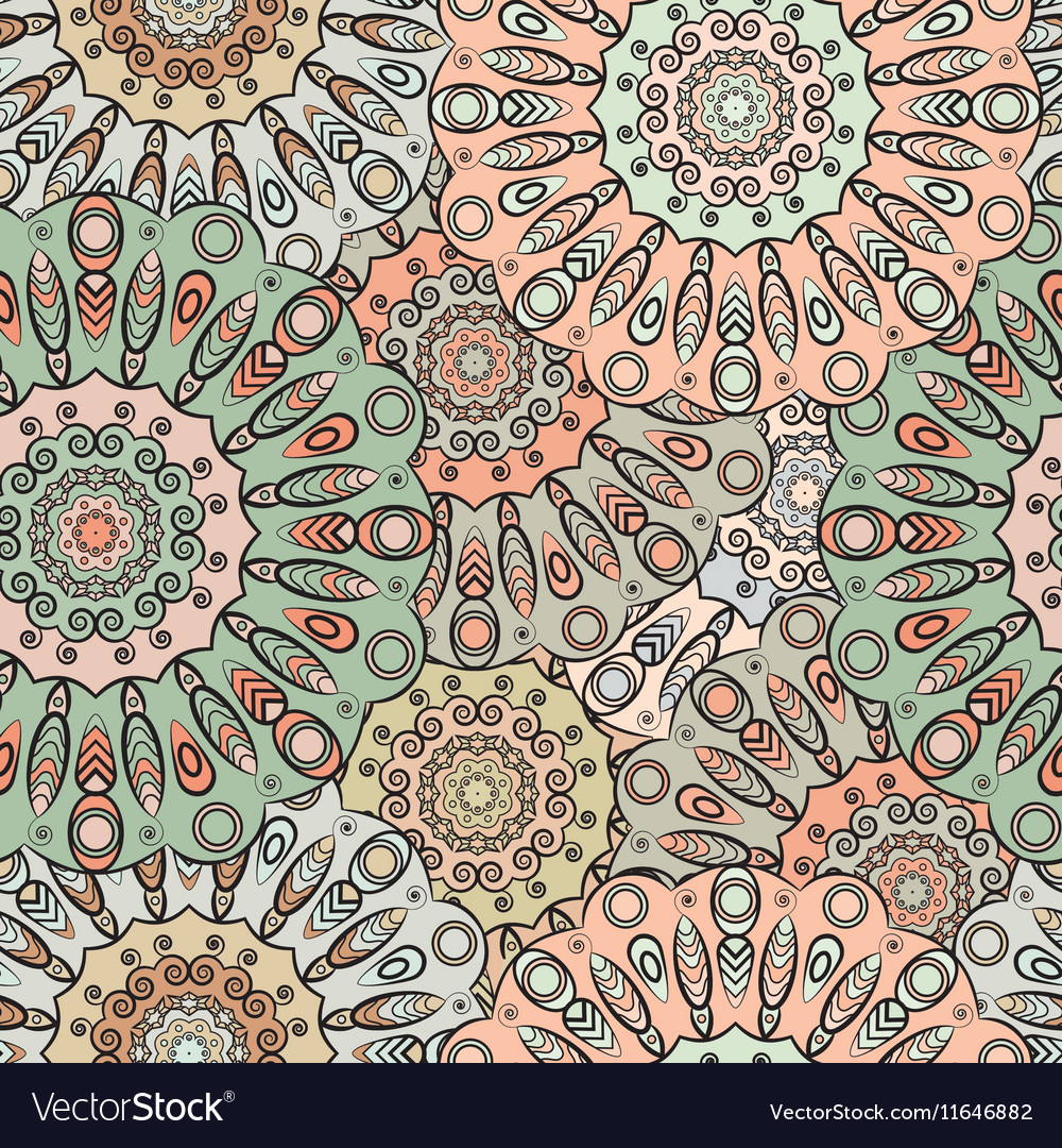 Seamless pattern with flowery mandalas vector image