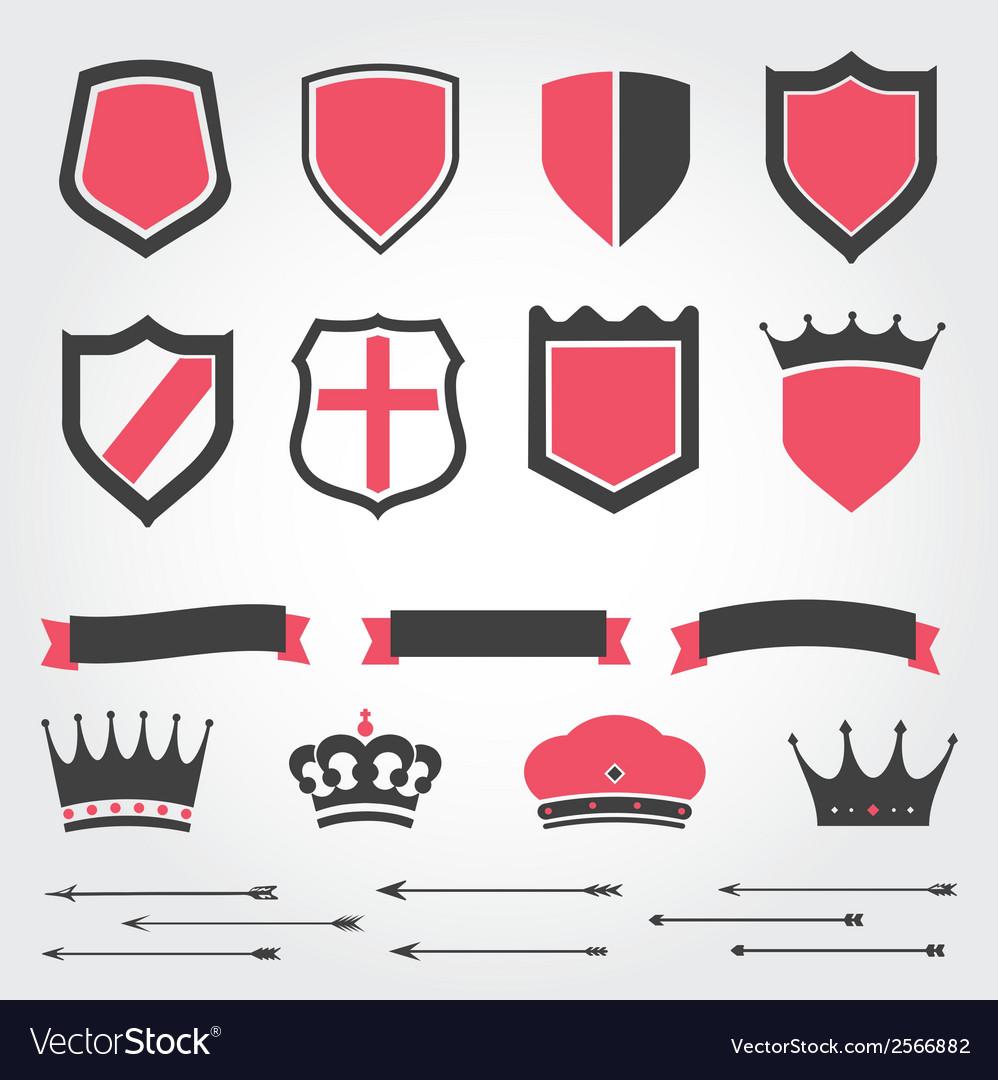 Set shields heraldic crowns ribbons arrows