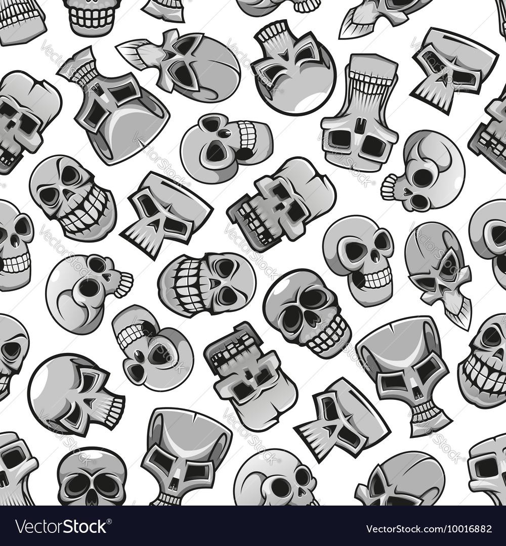 Skeleton skulls seamless pattern background