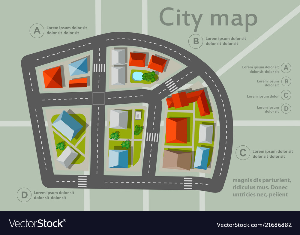 Top view city map