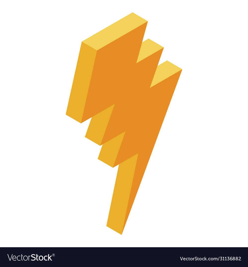 Yellow Arrow Bolt Icon Isometric Style Royalty Free Vector