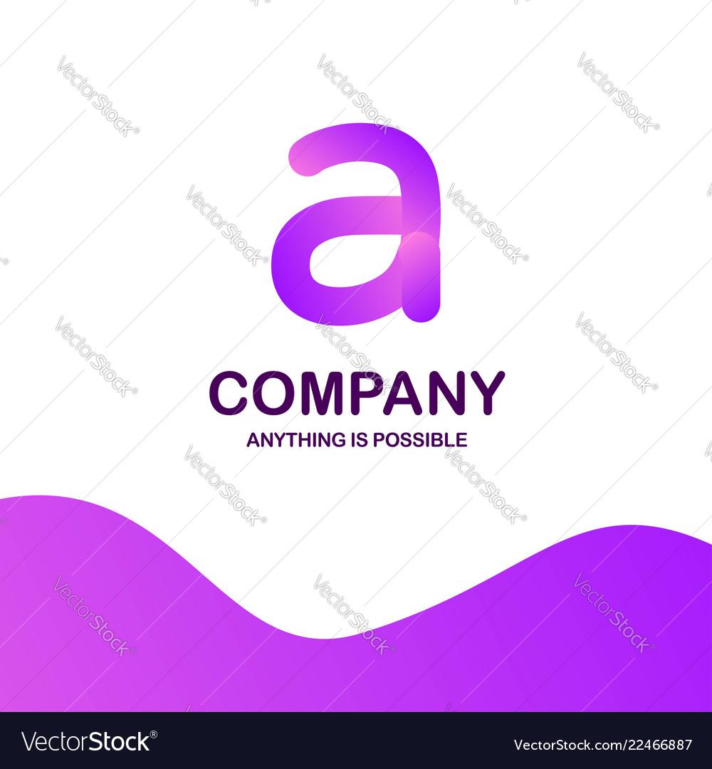 A company logo design with purple theme