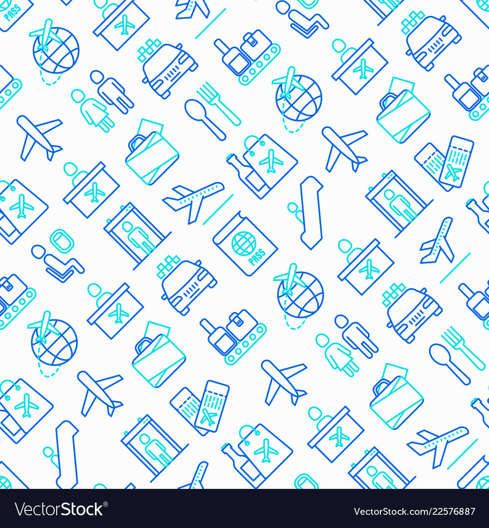 Airport seamless pattern with thin line icons