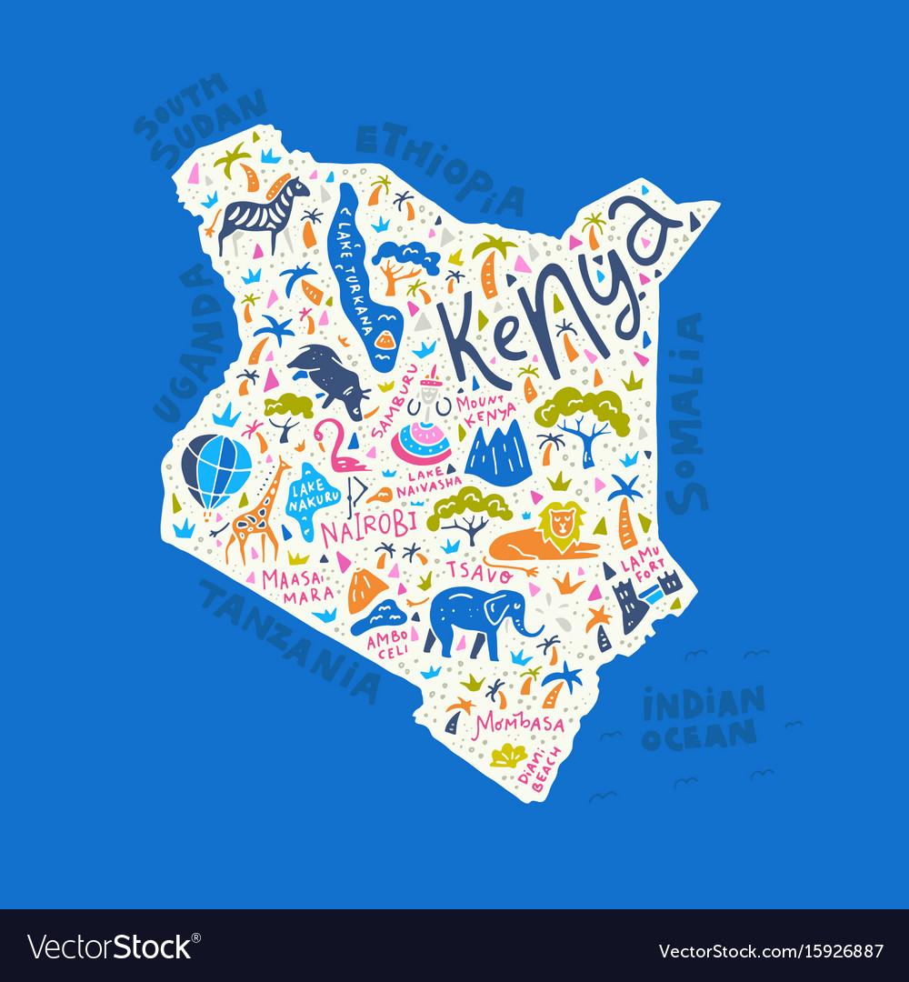 Cartoon Map Of Kenya Royalty Free Vector Image