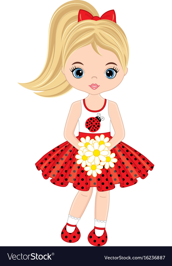 ca4315ccaa61c Cute little girl with flowers Royalty Free Vector Image