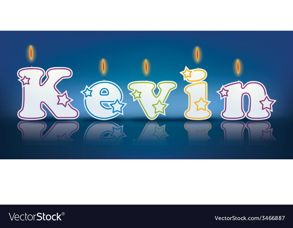 KEVIN written with burning candles vector image