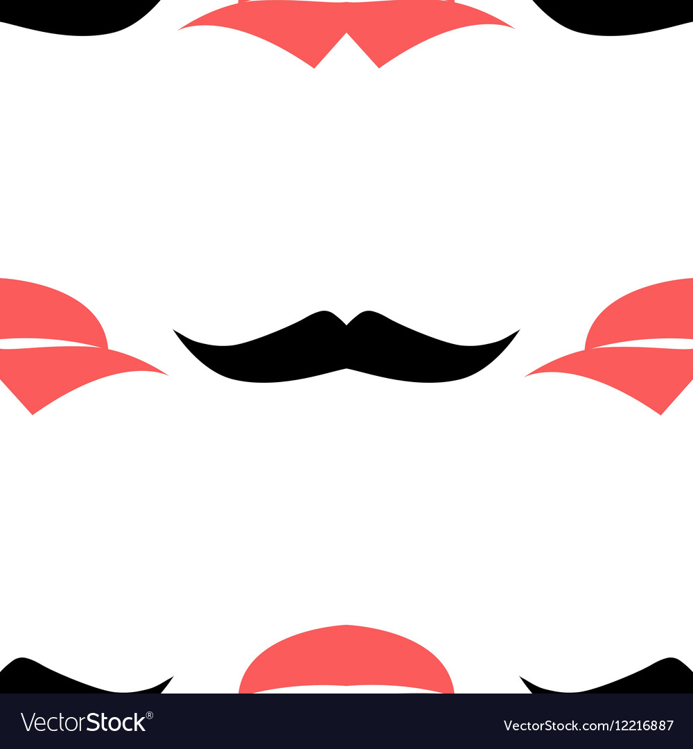 Lips and mustache seamless pattern vector image