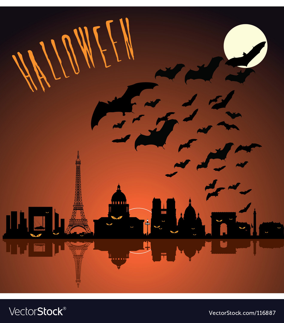 Paris Halloween Silhouette Vector. Artist: Kiraan; File type: Vector EPS