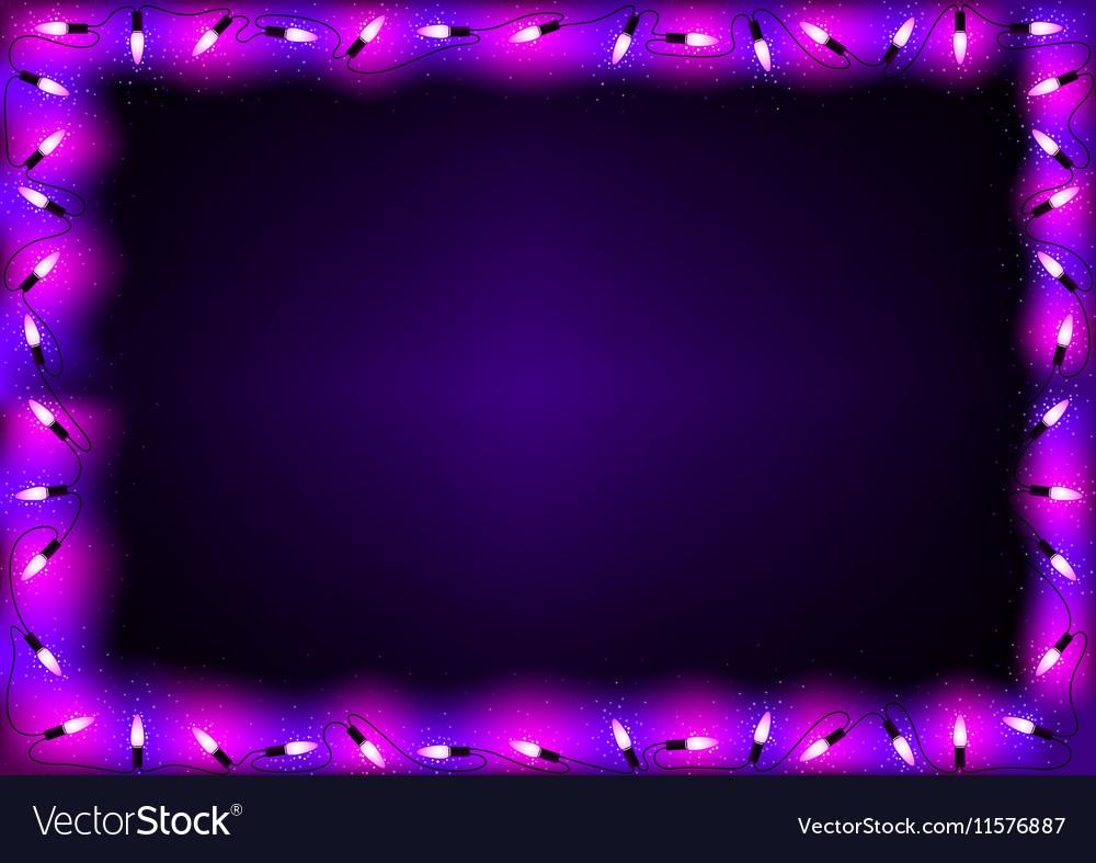 purple christmas lights background vector image