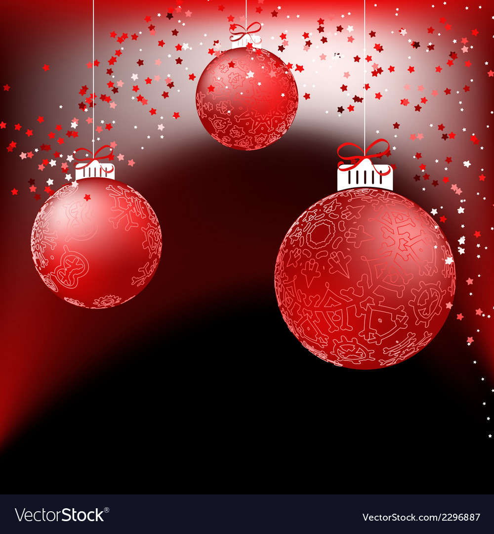 Red baubles on bright background EPS8