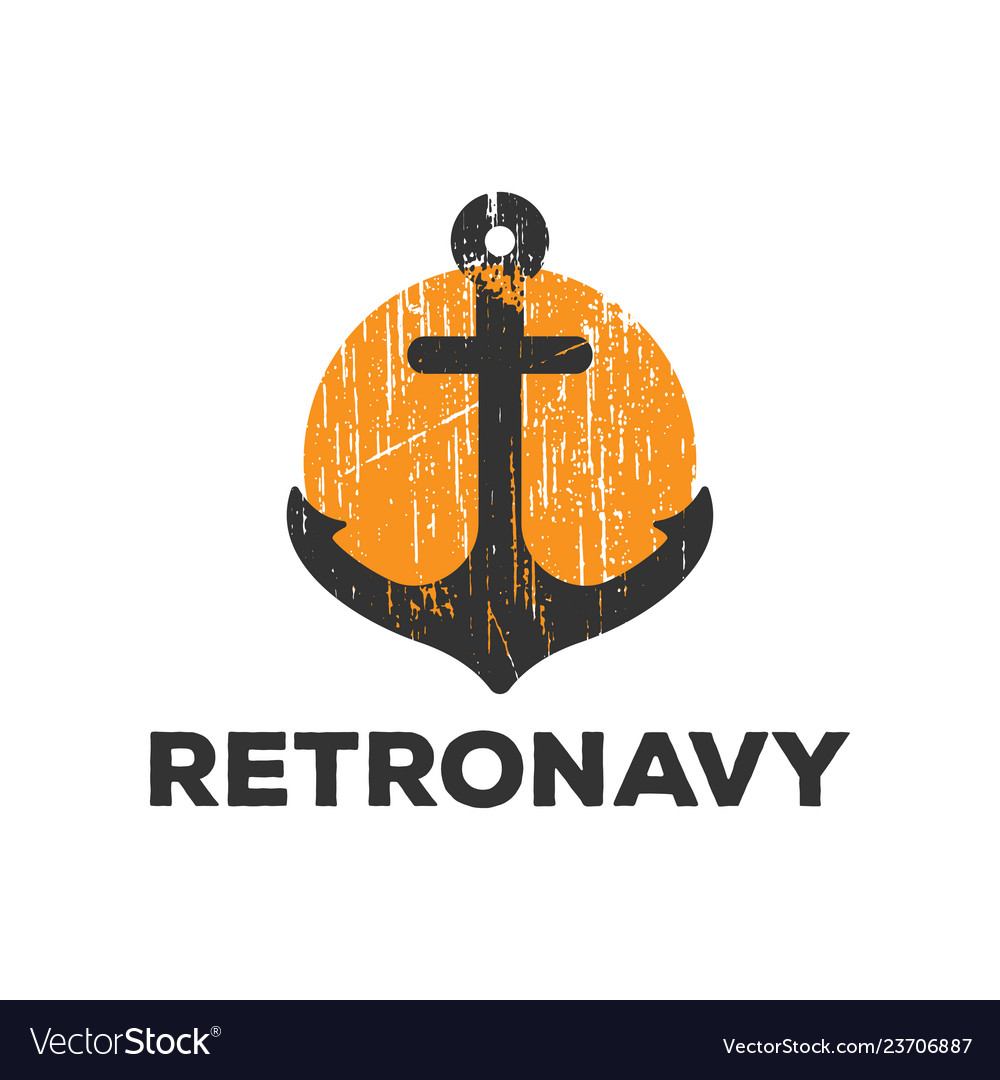 Retro anchor navy logo icon design template