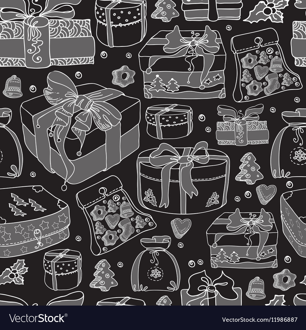 Seamless pattern gift boxes and cookies on a