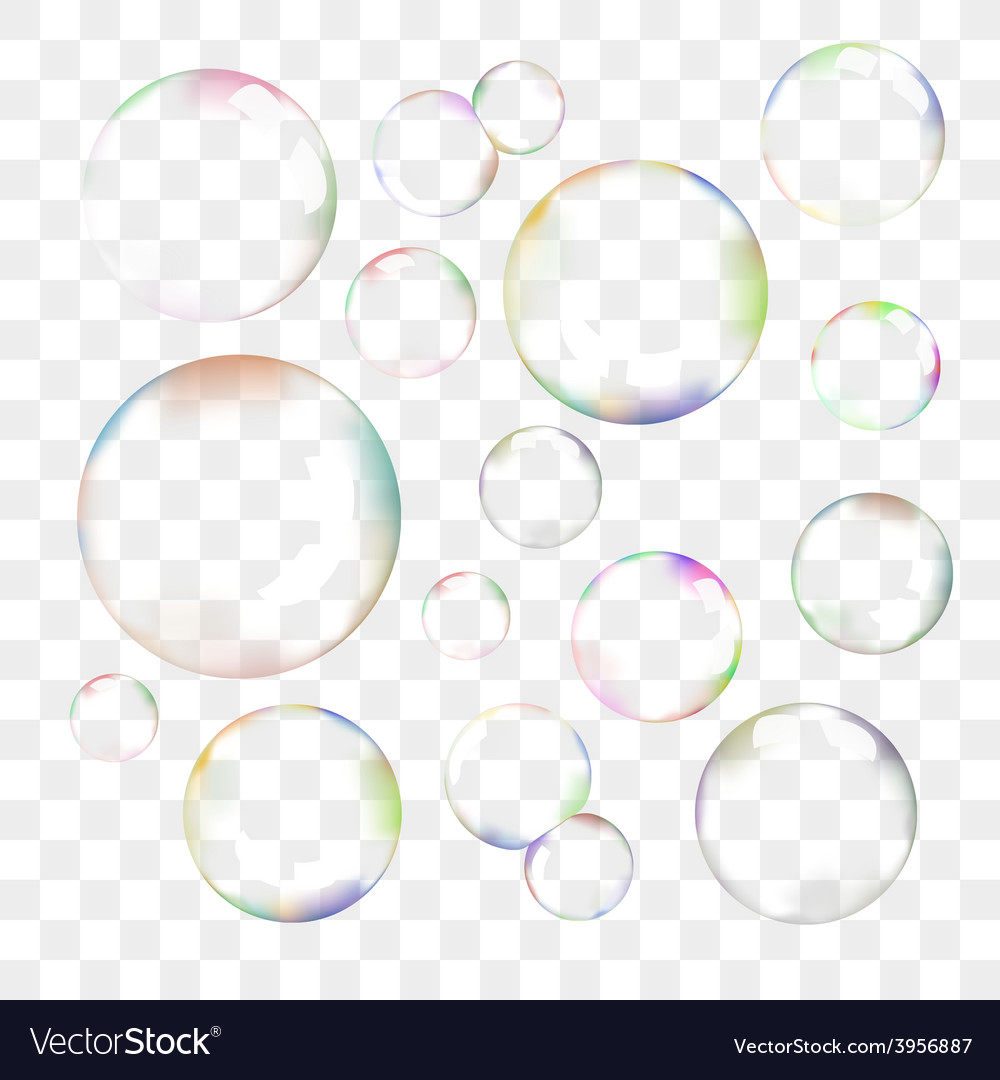 set of transparent soap bubbles royalty free vector image