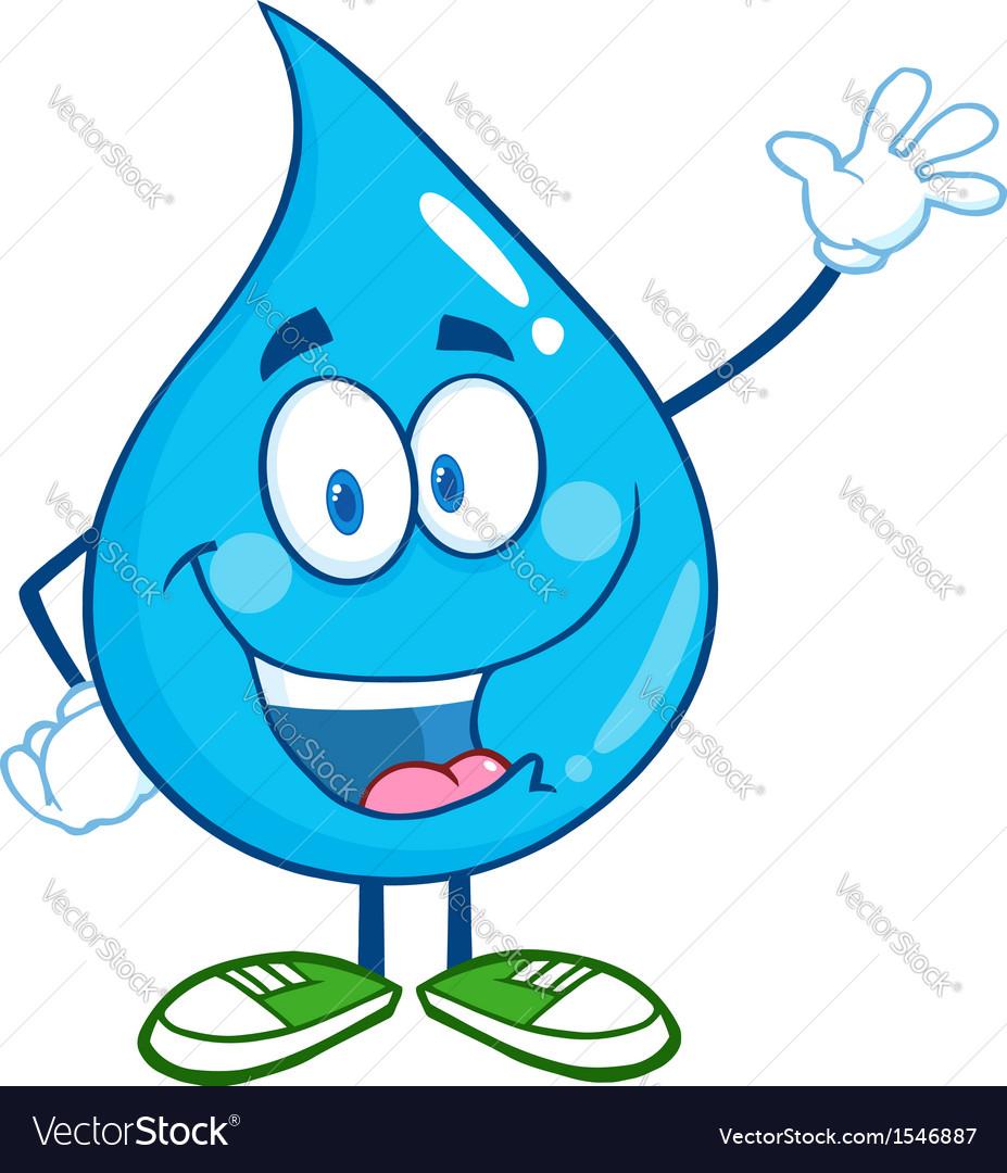 Water droplet cartoon character Royalty Free Vector Image