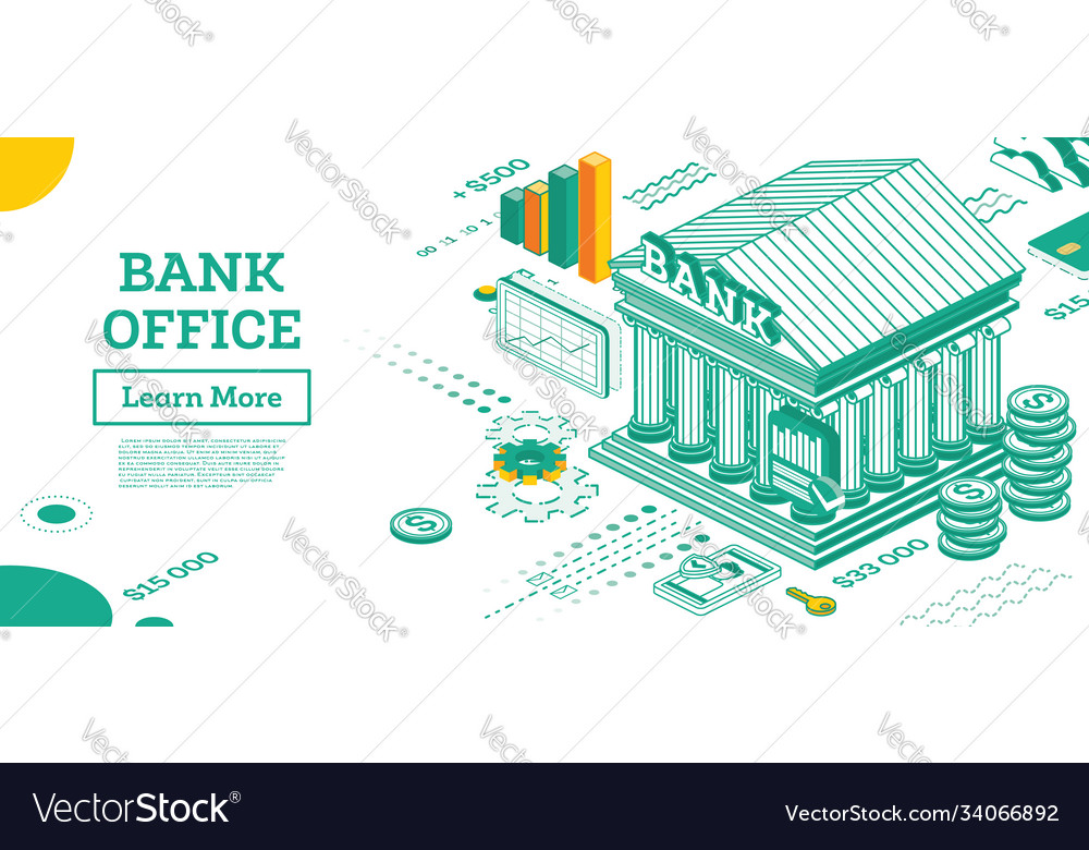 Bank building outline isometric view bank