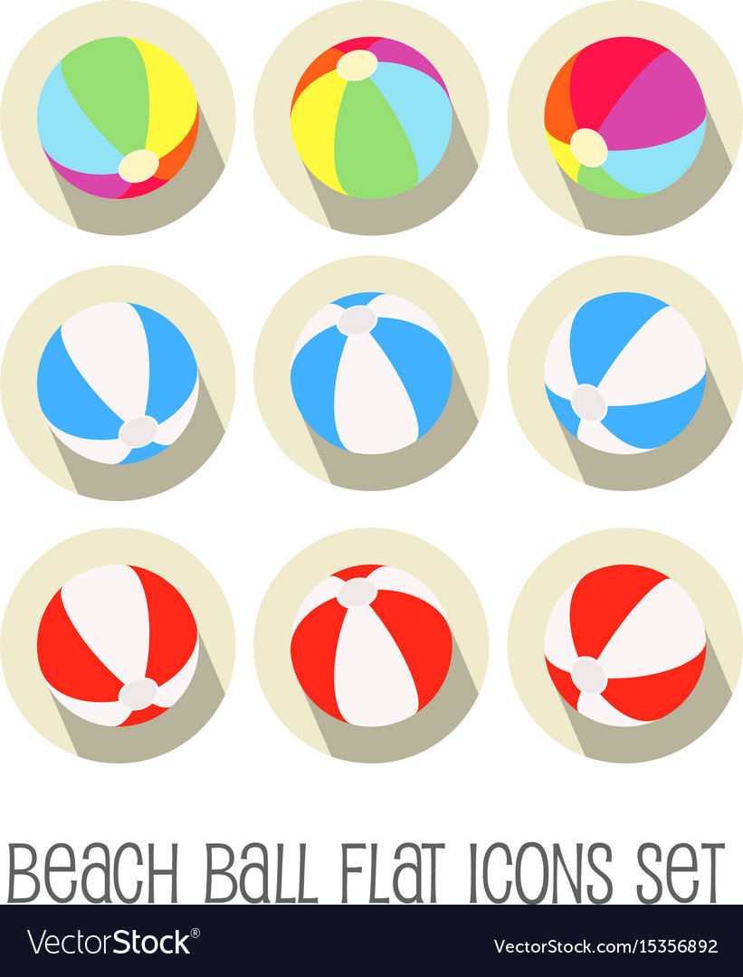 Beach ball icon set flat