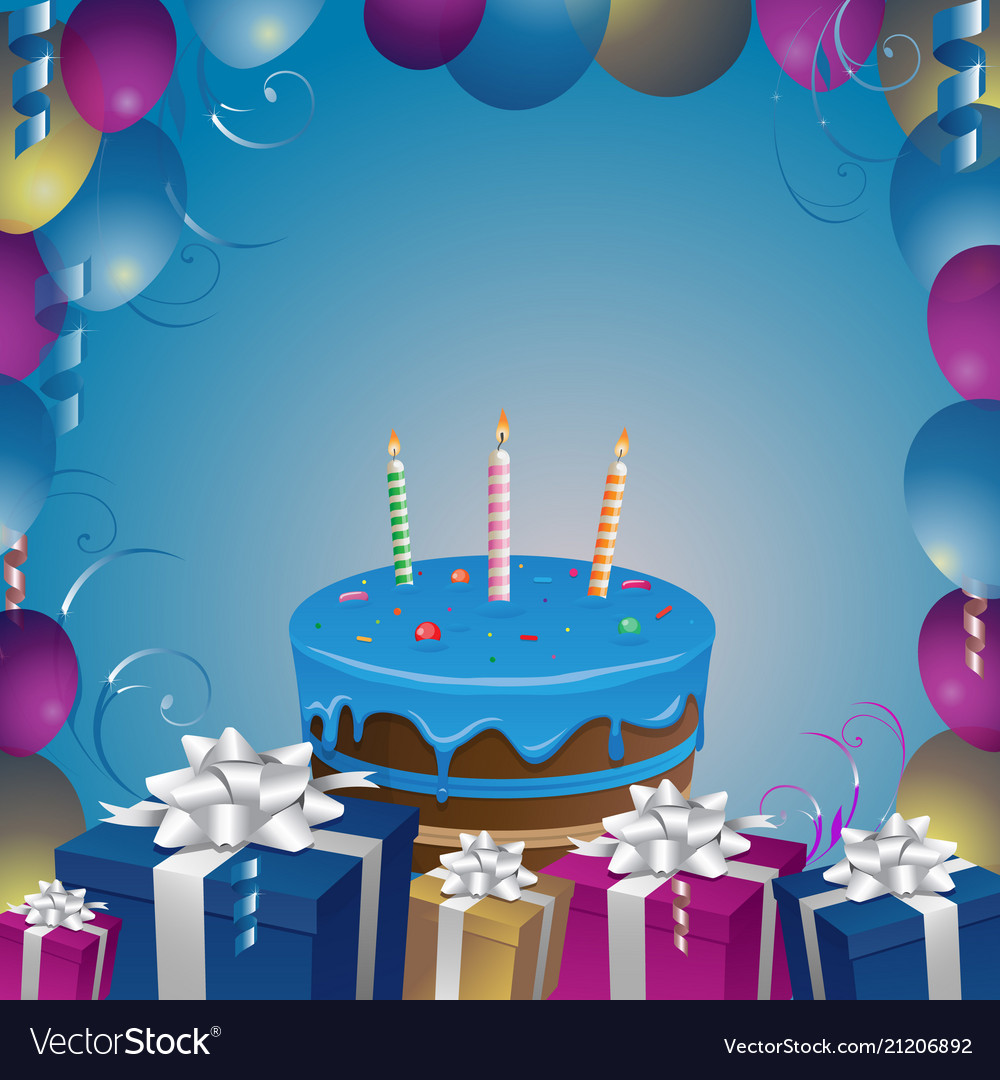 Beautiful Cake And Gifts Birthday Background Vector Image
