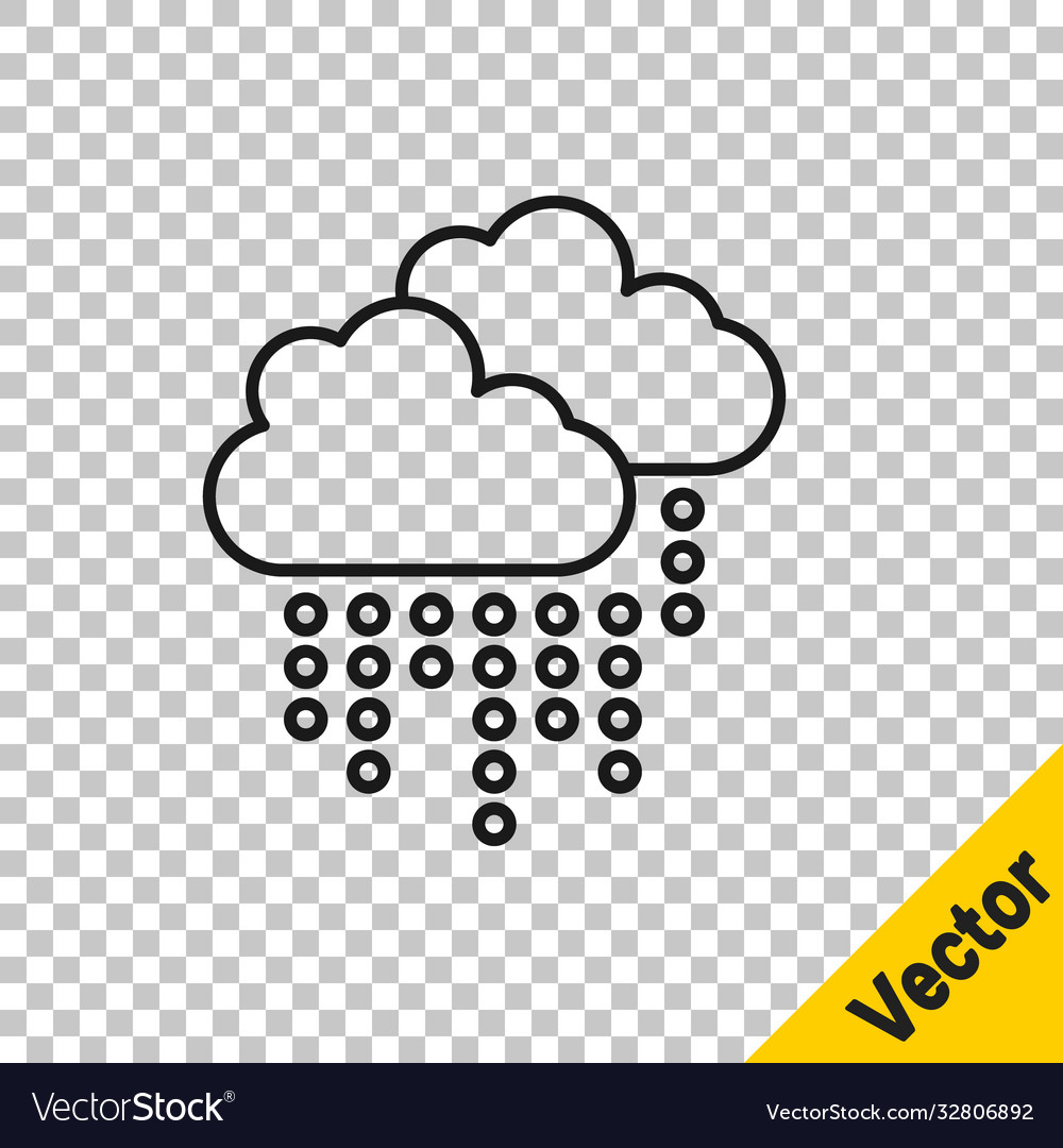 Black line cloud with rain icon isolated on