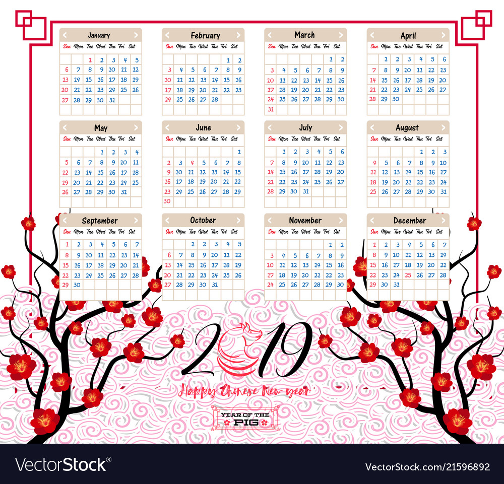 calendar 2019 chinese calendar for happy new year vector image