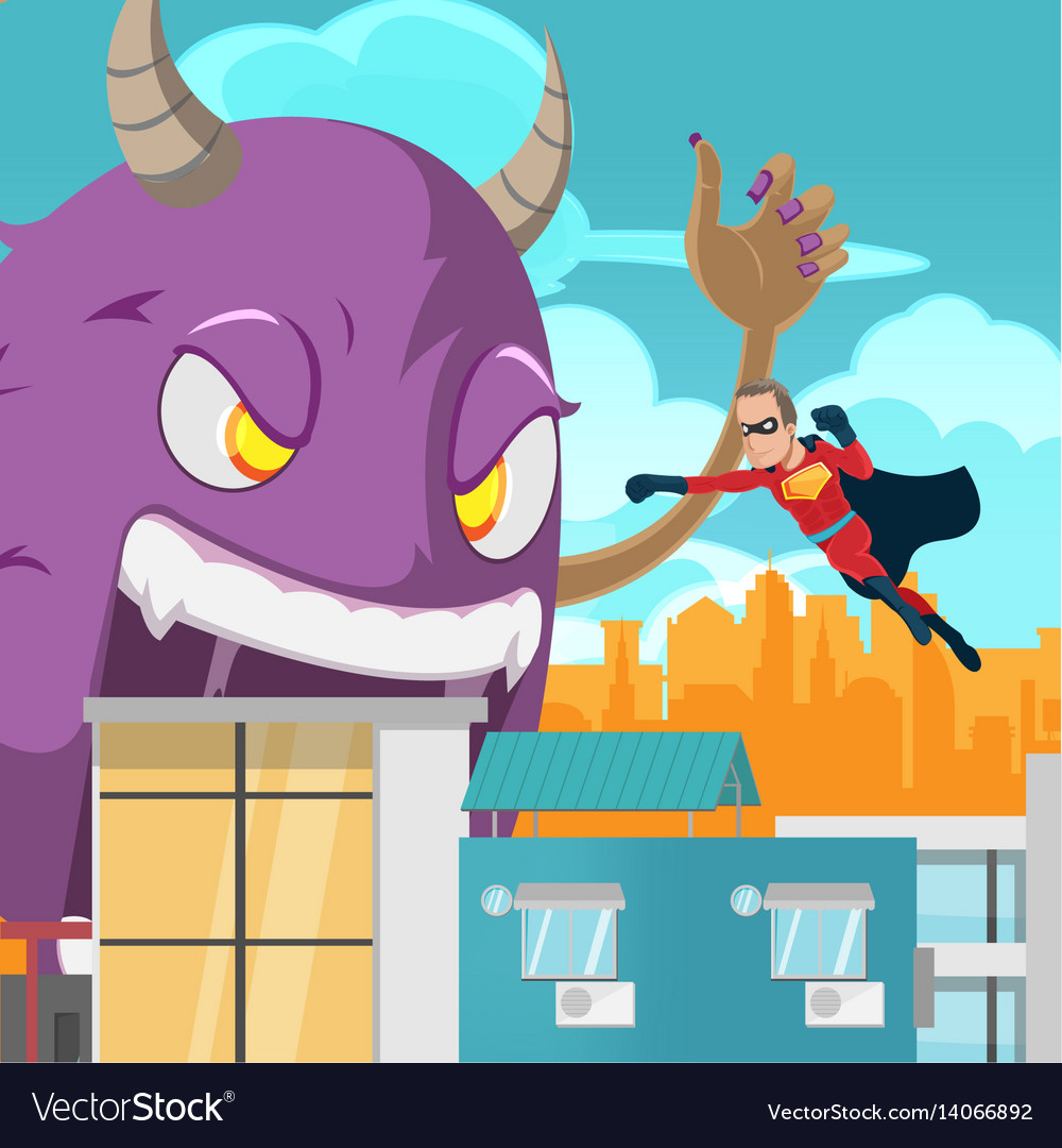 cities superhero monster battle action royalty free vector