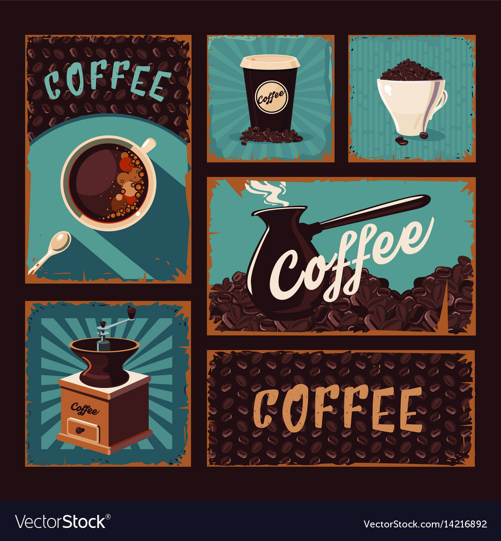 Coffeeshop vintage posters collection coffee