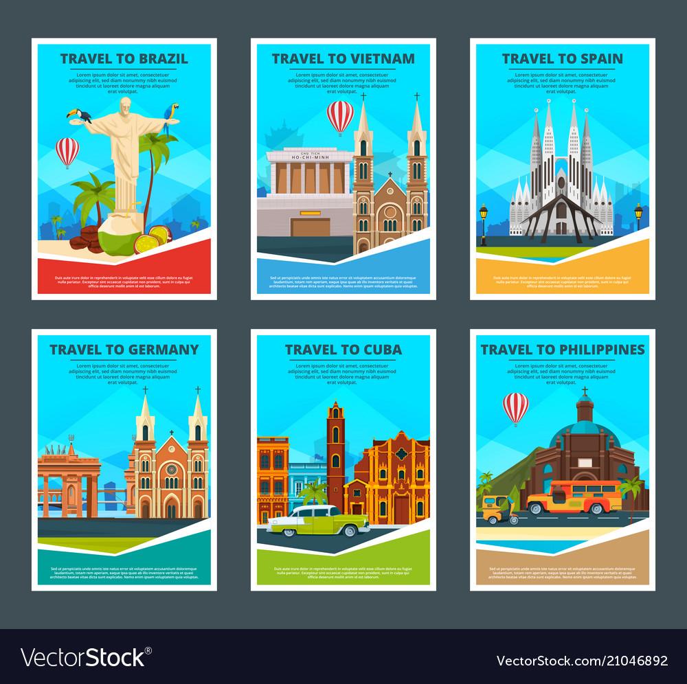 Design template various travel cards