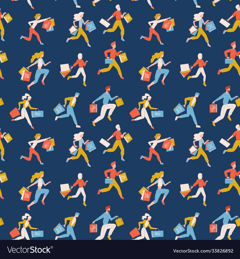 Flat seamless pattern trendy running girls and
