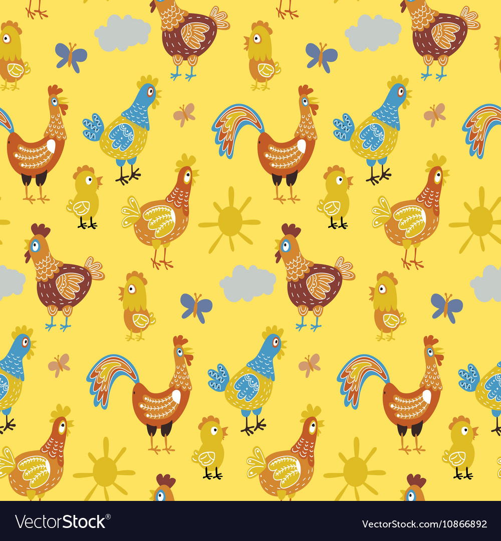 Fun chickens seamless pattern background with hand