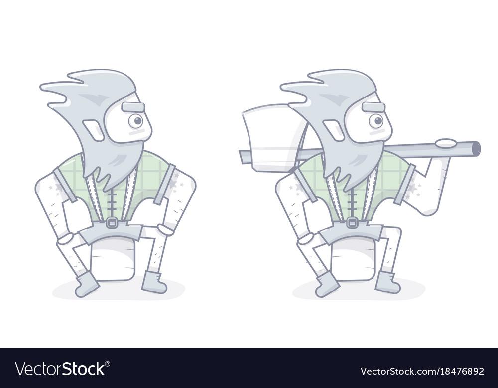 Funny cartoon lumberjack vector image